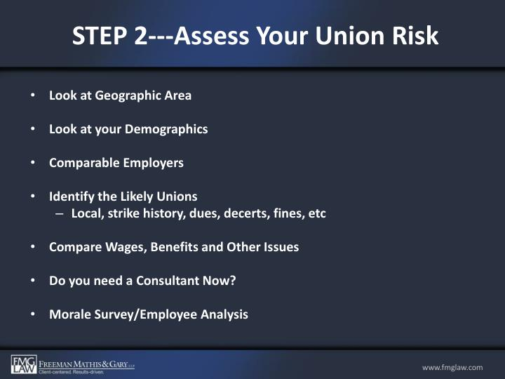 STEP 2---Assess Your Union Risk