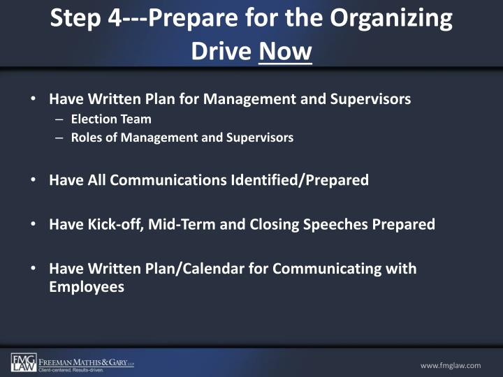Step 4---Prepare for the Organizing Drive