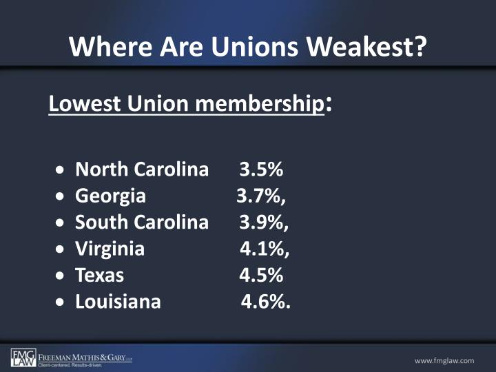Where Are Unions Weakest?