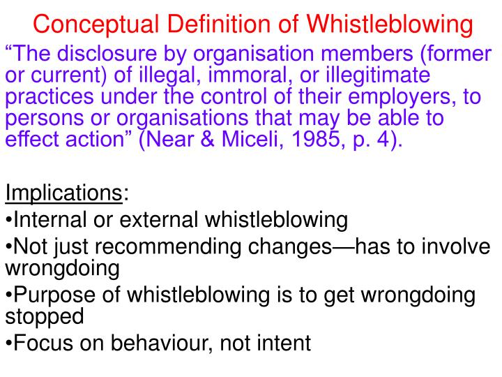 Conceptual Definition of Whistleblowing