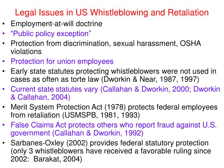 Legal Issues in US Whistleblowing and Retaliation