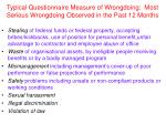 typical questionnaire measure of wrongdoing most serious wrongdoing observed in the past 12 months