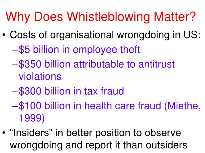 Why Does Whistleblowing Matter?