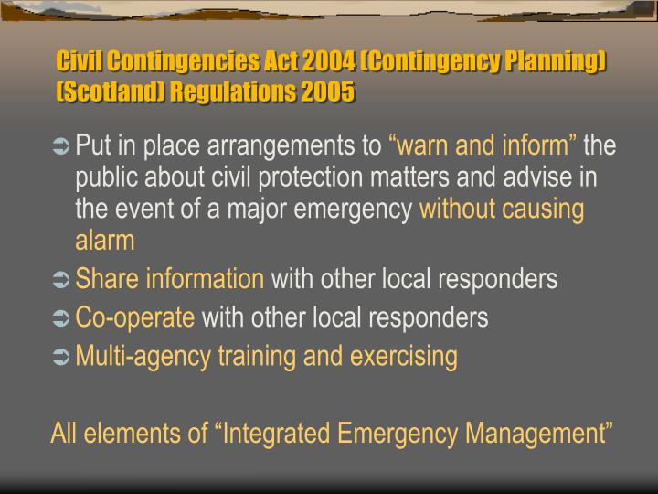 Civil Contingencies Act 2004 (Contingency Planning) (Scotland) Regulations 2005