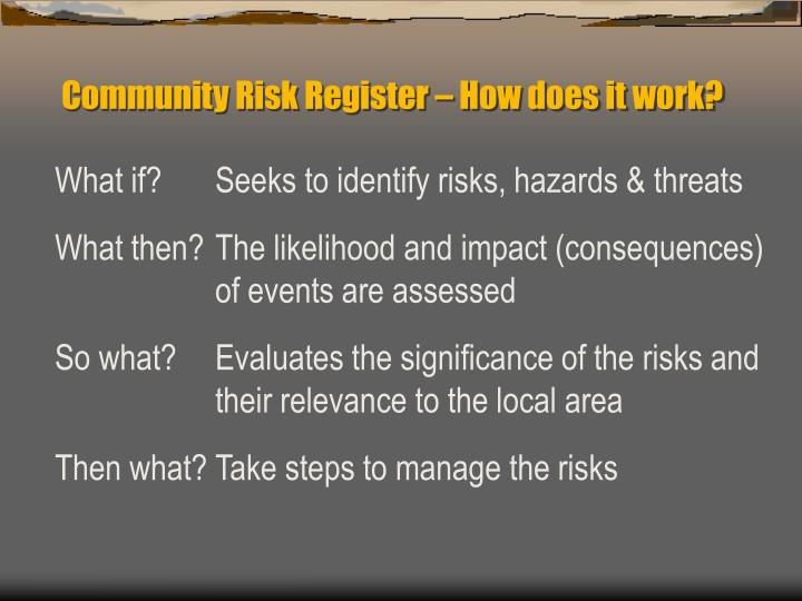 Community Risk Register – How does it work?