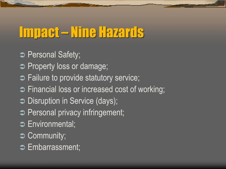 Impact – Nine Hazards