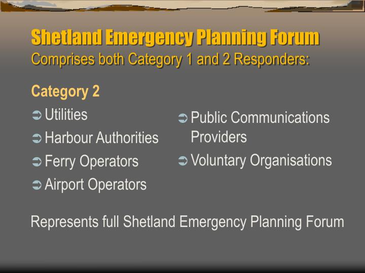 Shetland Emergency Planning Forum