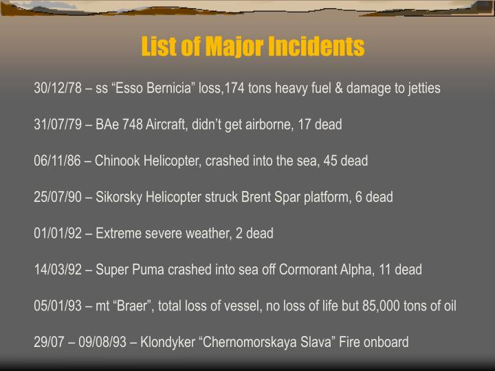 List of Major Incidents