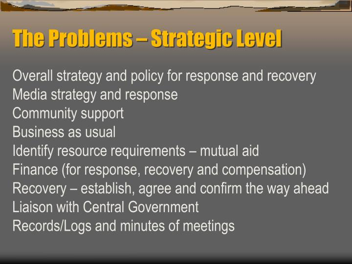 The Problems – Strategic Level