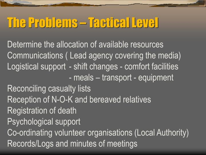The Problems – Tactical Level