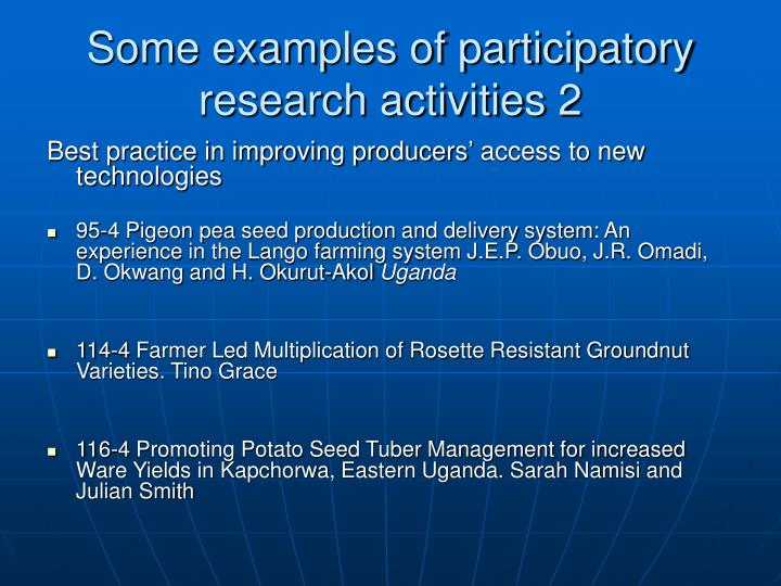 Some examples of participatory research activities 2