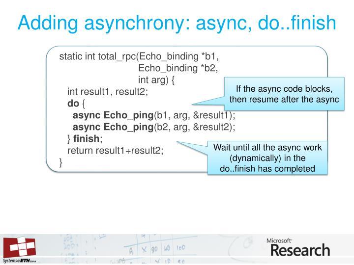 Adding asynchrony: