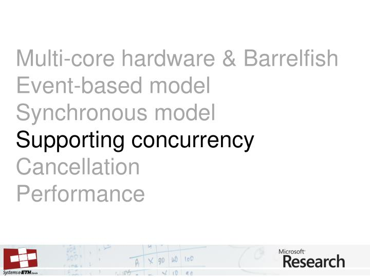 Multi-core hardware & Barrelfish