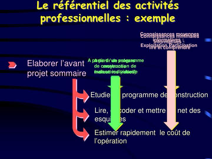 Le référentiel des activités professionnelles : exemple