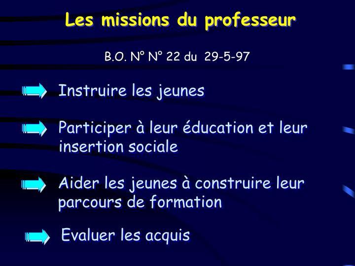 Les missions du professeur