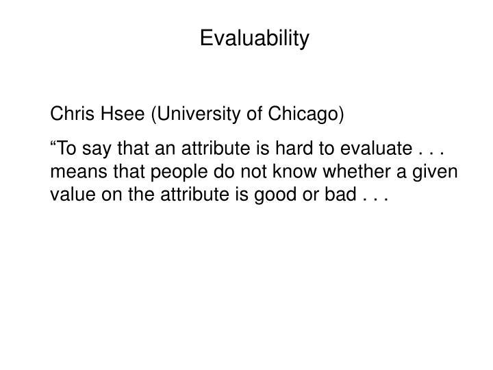 Evaluability