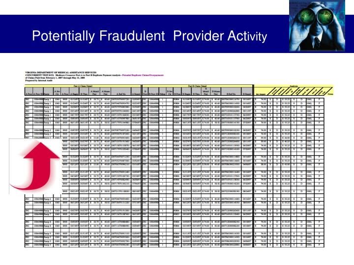 Potentially Fraudulent  Provider Act