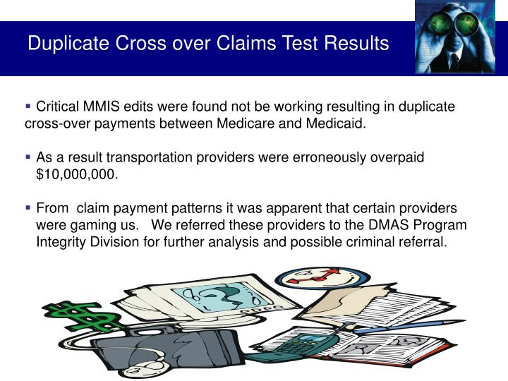 Duplicate Cross over Claims Test Results