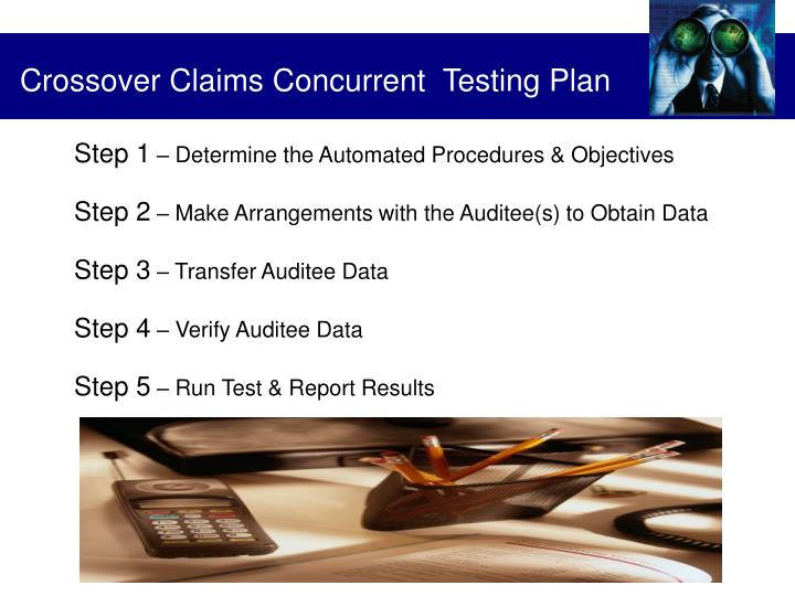 Crossover Claims Concurrent  Testing Plan