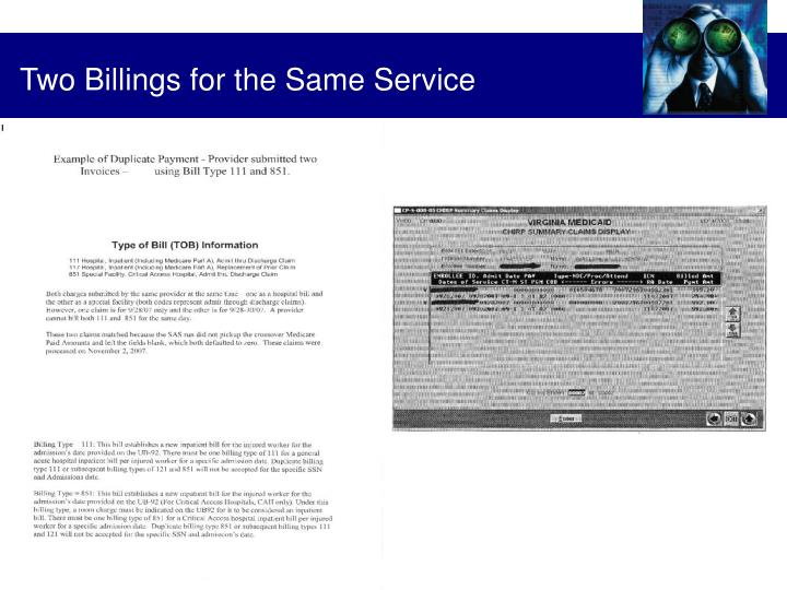 Two Billings for the Same Service