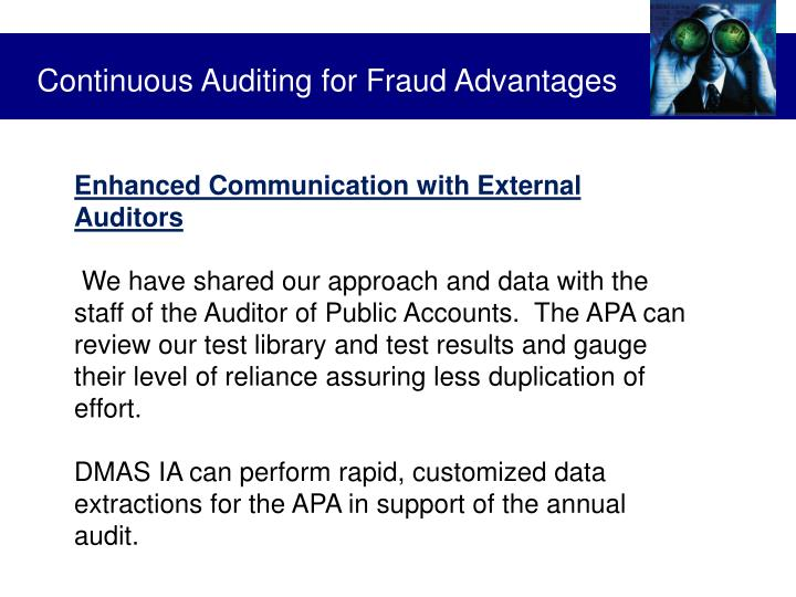 Continuous Auditing for Fraud Advantages