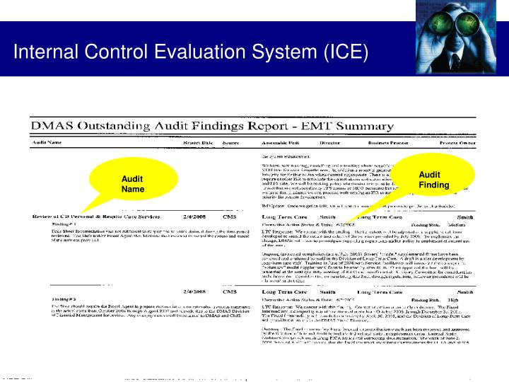 Internal Control Evaluation System (ICE)