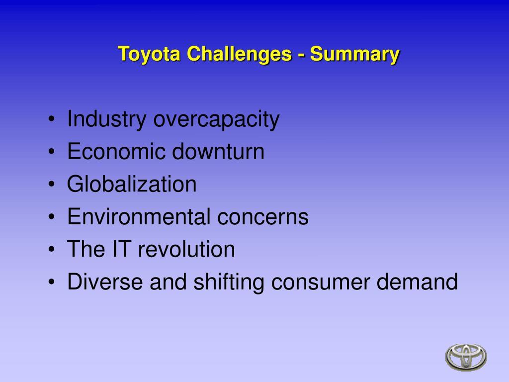 Toyota Challenges - Summary