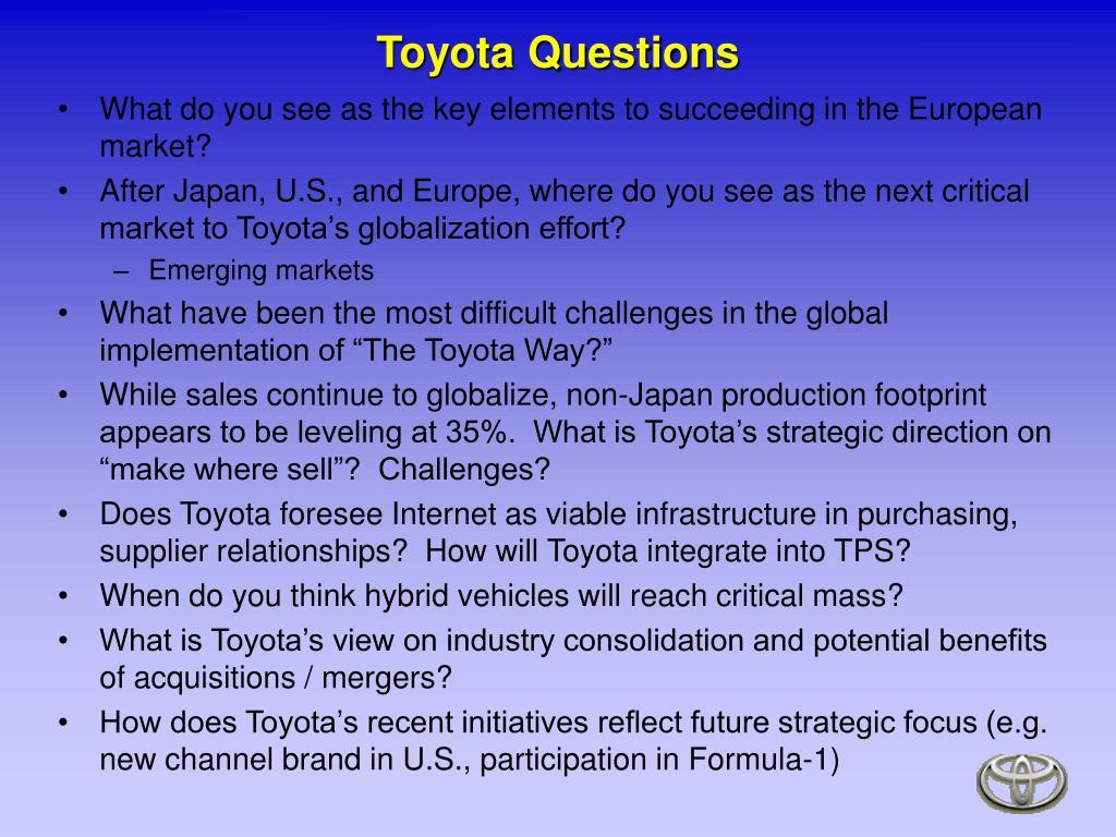 Toyota Questions
