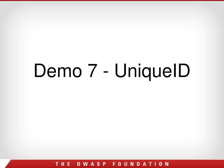 Demo 7 - UniqueID