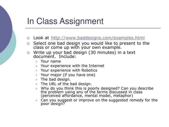 In Class Assignment