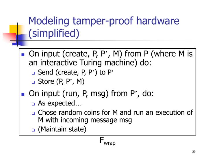 Modeling tamper-proof hardware