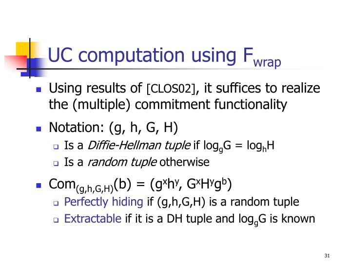UC computation using F