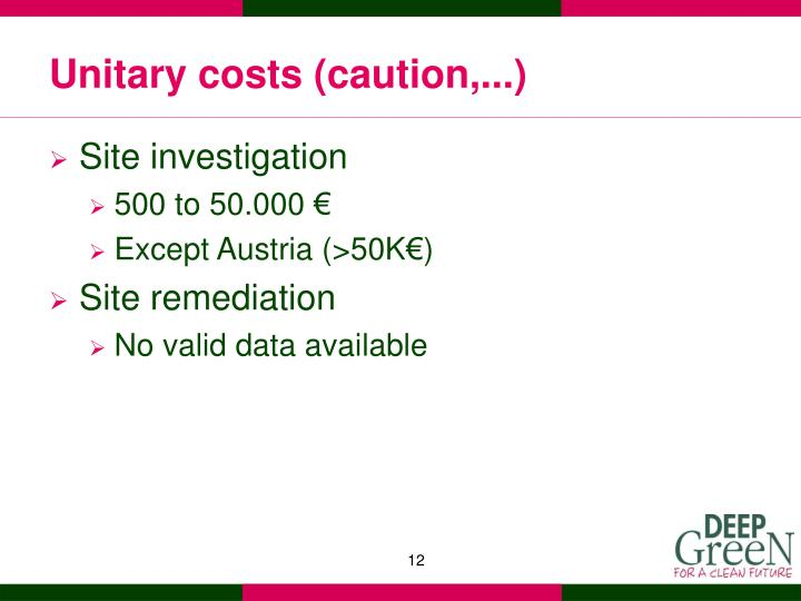 Unitary costs (caution,...)