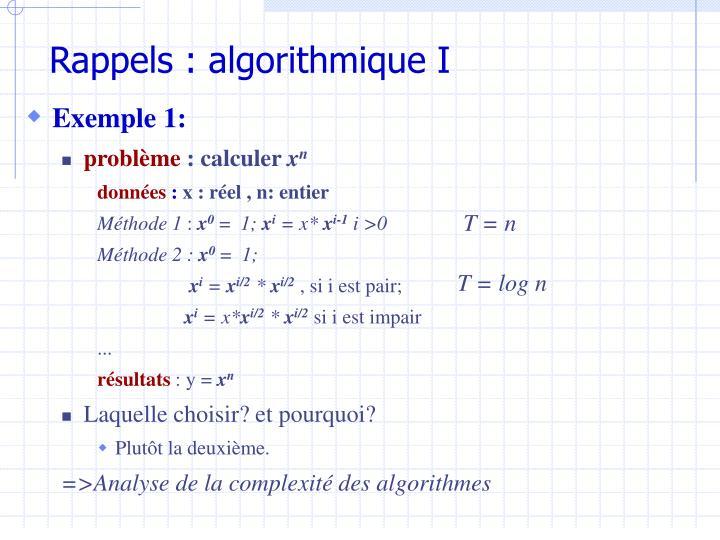 Rappels : algorithmique I