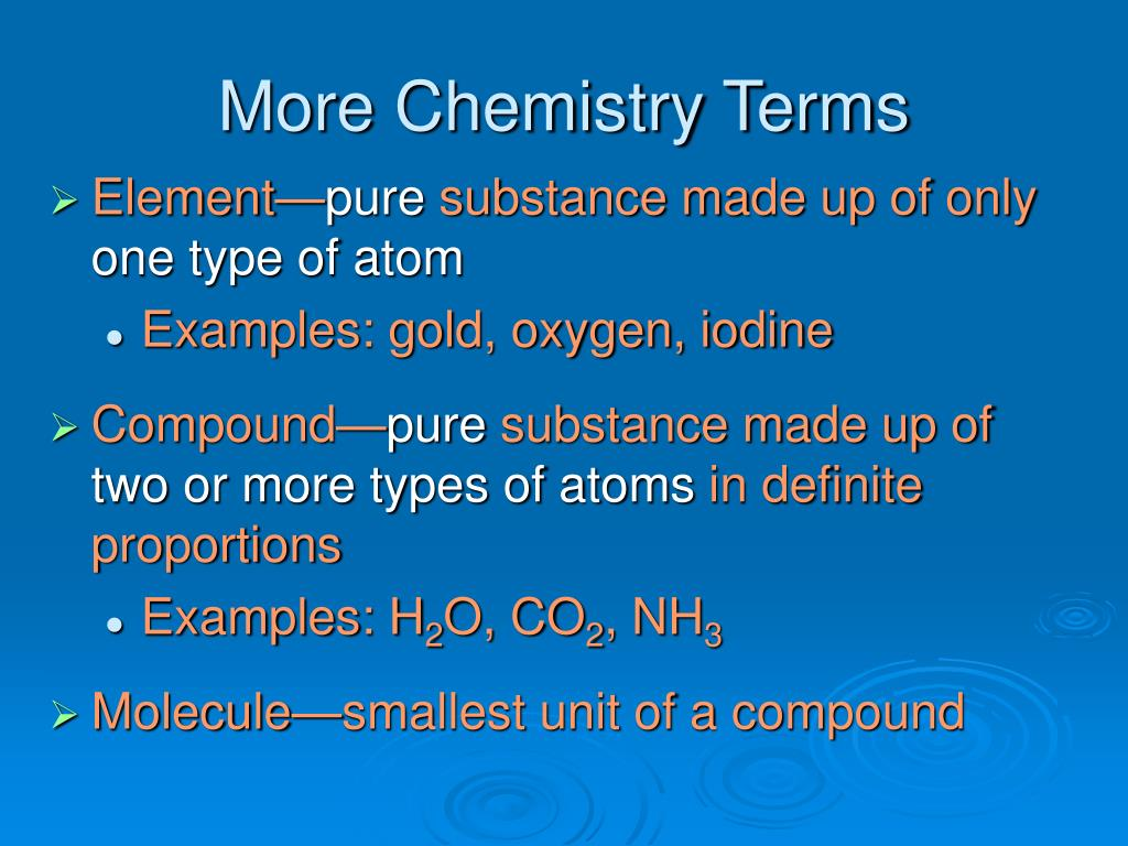 More Chemistry Terms