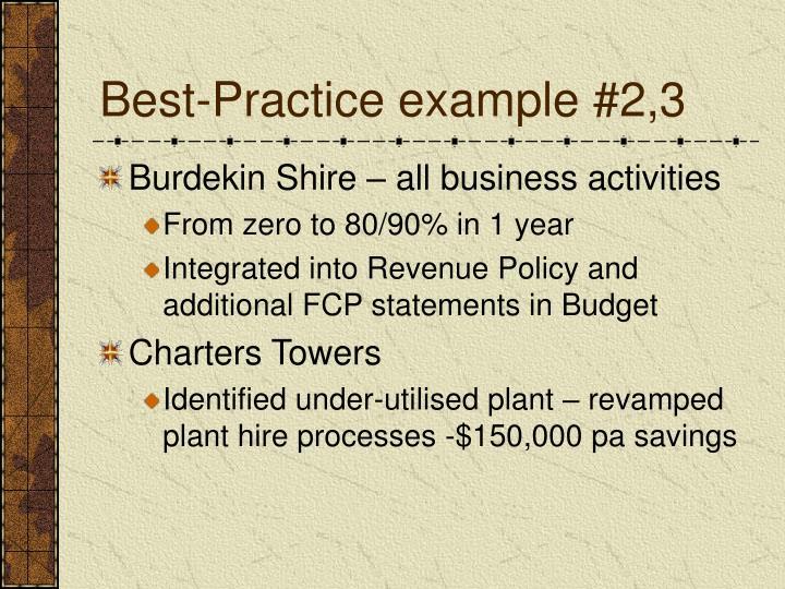 Best-Practice example #2,3