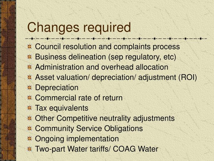 Changes required