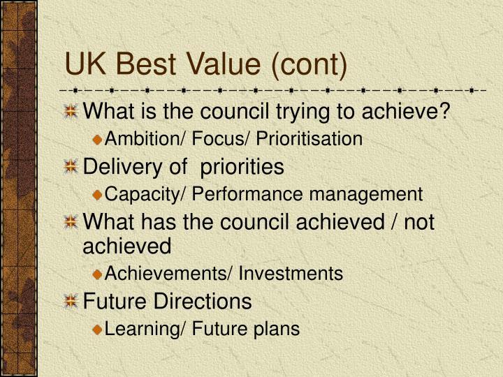 UK Best Value (cont)