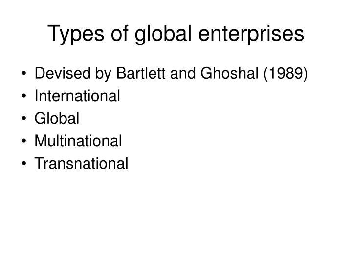 Types of global enterprises