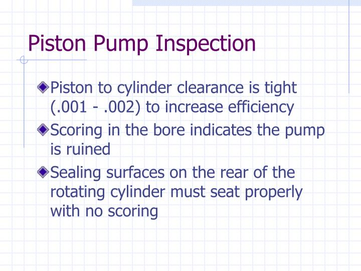 Piston Pump Inspection