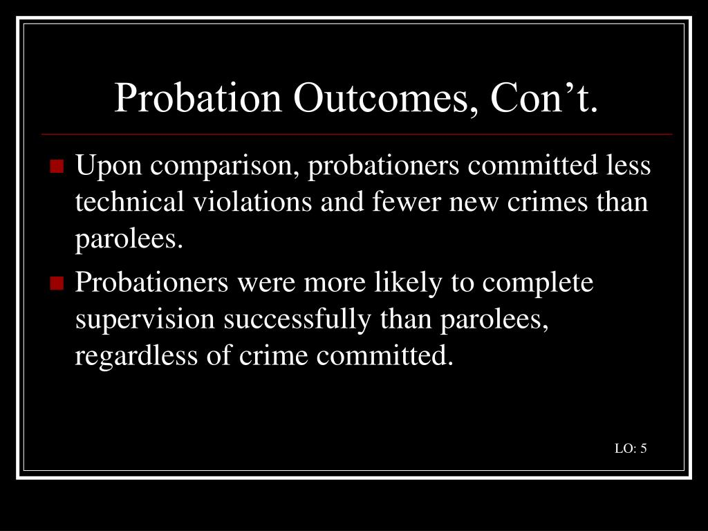 Probation Outcomes, Con't.