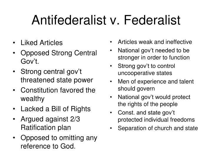 federalists vs. anti-federalists essay During the time of the ratification of the constitution of the united states, two camps of political thought emerged the beginnings of the two political parties had.