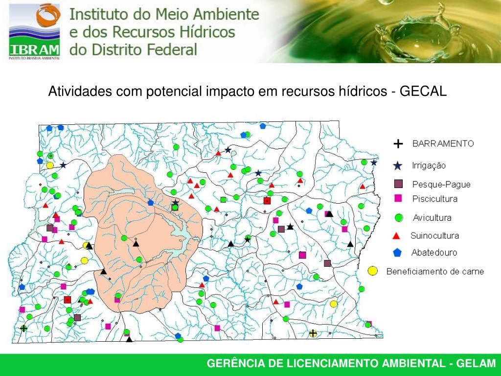 Atividades com potencial impacto em recursos hídricos - GECAL