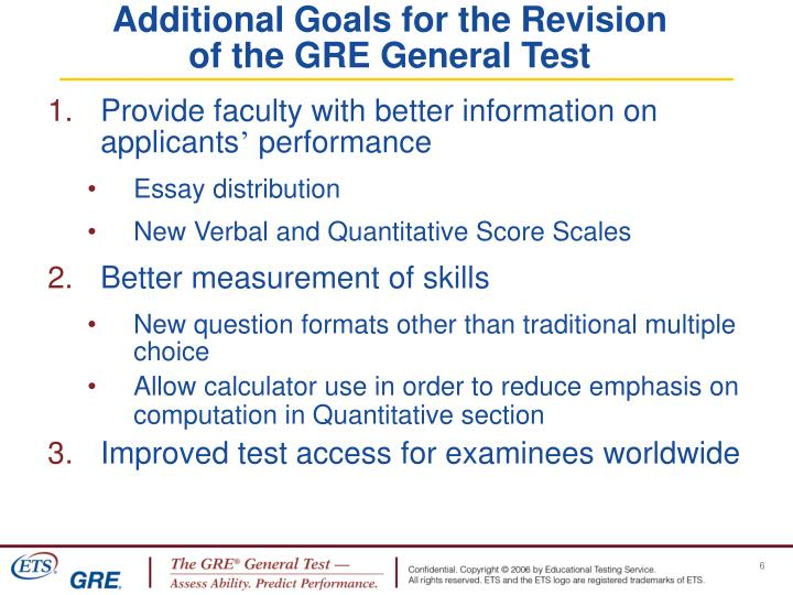 Additional Goals for the Revision