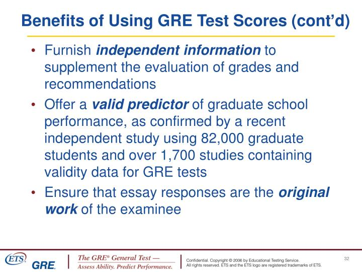 Benefits of Using GRE Test Scores (cont'd)