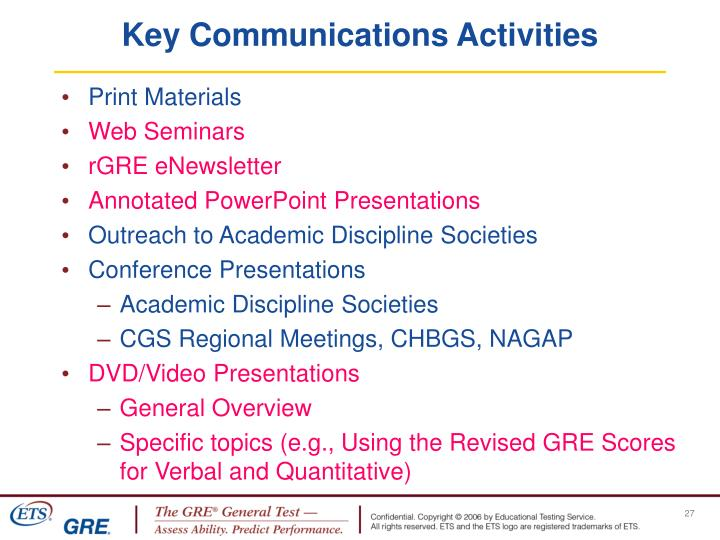 Key Communications Activities