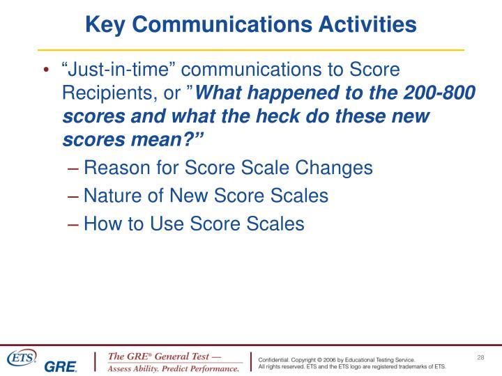 Key Communications Activities