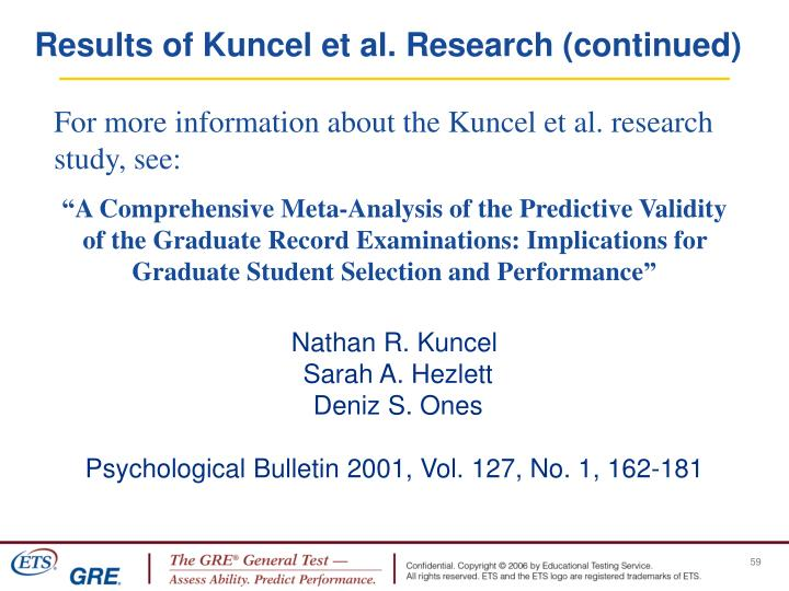 Results of Kuncel et al. Research (continued)