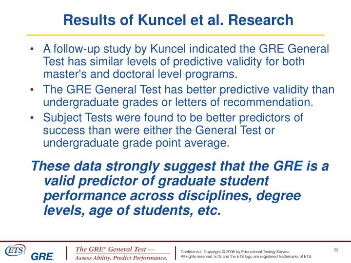 Results of Kuncel et al. Research