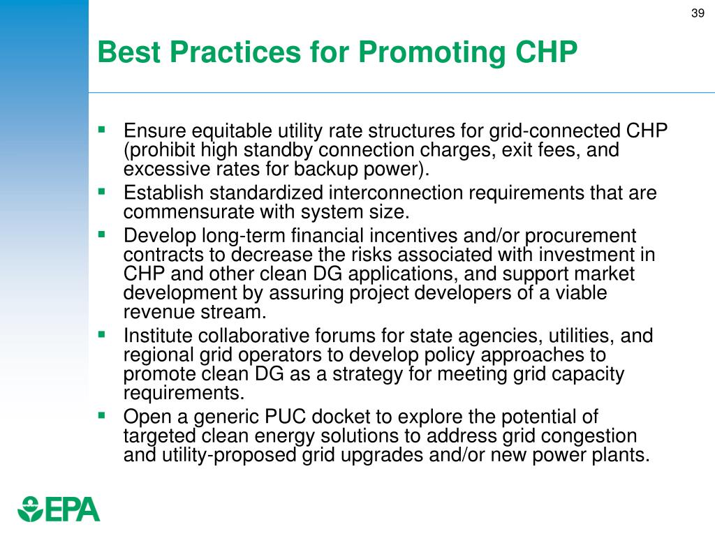Best Practices for Promoting CHP